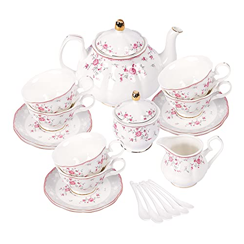fanquare Set da Tè in Porcellana, Set Tazza da Tè e Piattino, Servizio da Tè da Sei,Nozze Teiera Zuccheriera Crema Brocca, Servizio da Caffè di Fiori China, Rosa Rossa