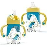 Vaso Bebe 2-en-1 Vaso Antiderrame Bebe con Boquilla y Pajita, Vaso Aprendizaje Bebe...