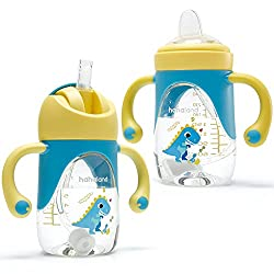 4. hahaland Store 2-in-1 8 Oz Dinosaur Sippy Cup