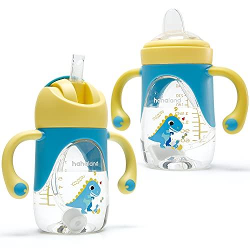 Vaso Bebe 2-en-1 Vaso Antiderrame Bebe con Boquilla y Pajita, Vaso Aprendizaje Bebe con Asas para Facilitar la Sujeción, Taza para Sorber para Bebes 6 12 meses, 240ml (Un Vaso con Boquilla y P