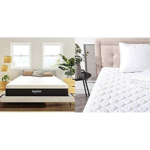Classic Brands Cool Gel and Ventilated Memory Foam 12-Inch Mattress, CertiPUR-US Certified, Twin, White & Defend-A-Bed Deluxe Quilted Waterproof Mattress Protector, Twin