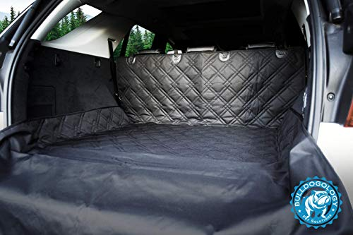 Bulldogology Premium SUV Cargo Liner Seat Cover for Dogs - Heavy Duty Durability, Waterproof, Nonslip Backing, Washable, with Bumper Flap Protection (Universal Fit) (Large, Black)