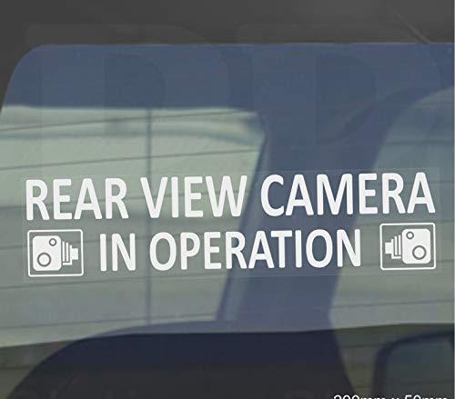 2x intern Fenster 200x 50mm-rear View Kamera in Betrieb Warnung, stickers-white auf clear-–CCTV sign-van, LKW, LKW, Taxi, Bus, Mini Cab, Minicab Sicherheit und security-go Pro, Dashcam