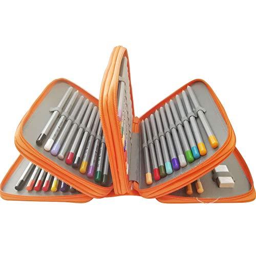 Tracker Color Pencil, 72-Slot Pencil case 4 Layer 4 Zipper Pen Bag Large Art case Multi-Layer Pencil case Storage Box Pencil case Pen Holder Fixed Pencil case Child Adult (Orange)