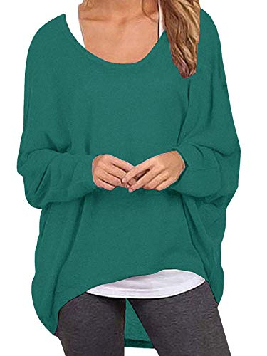 ZANZEA Damen Lose Asymmetrisch Jumper Sweatshirt Pullover Bluse Oberteile Oversize Tops Türkis Large