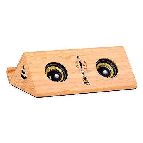 Elise Bluetooth luidspreker van hout voor mobiele telefoons in retro-look, 360 graden stereo-installatie mini-subwoofer, audio met TF-kaart, handsfree installatie