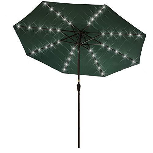 Sundale Outdoor 10 ft Solar Powered 40 LED Lighted Patio Umbrella Table Market Umbrella with Crank and Push Button Tilt for Garden, Deck, Backyard, Pool, 8 Steel Ribs (Dark Green)