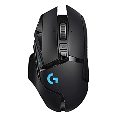 Logitech G502 Lightspeed Wireless Gaming Mouse with HERO 25K Sensor, PowerPlay Compatible, Tunable Weights and Lightsync RGB - Black by Logitech