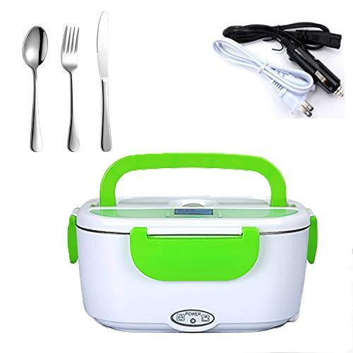 DIKER Elektrische Heizung Lunchbox - 2 In 1 für Auto/LKW und Büro 220V & 12V 40W Edelstahl Warmhaltebox Tragbare Food Box Löffel für Auto Haushalt Camping (Grün)
