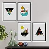 Set de 4 láminas para enmarcar, Cuatro posters con imágenes de Montañas geométricas. Láminas estilo nordico. Decoración de hogar. (A4)
