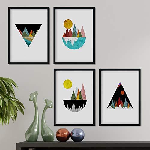 Nacnic Set de 4 láminas para enmarcar, Cuatro Posters con imágenes de Montañas geométricas. Láminas Estilo nordico. Decoración de hogar. (A4)