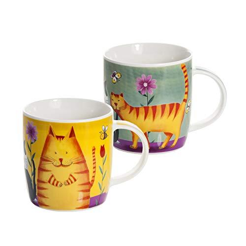 Koffiemok 2 stuks kat kopjes keramiek porseleinen beker thee kopje koffie kopje theebeker, cadeau voor kattenliefhebbers, kattenvrienden en kattenfans