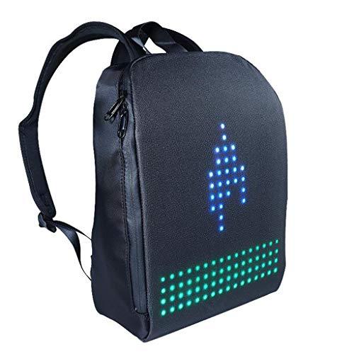 Strele Nueva Mochila Creativa Unisex con LED Inteligente Mochila para Computadora Portátil Negra De Moda con Pantalla LED De Píxel Digital Personalizable con Aplicación,Negro