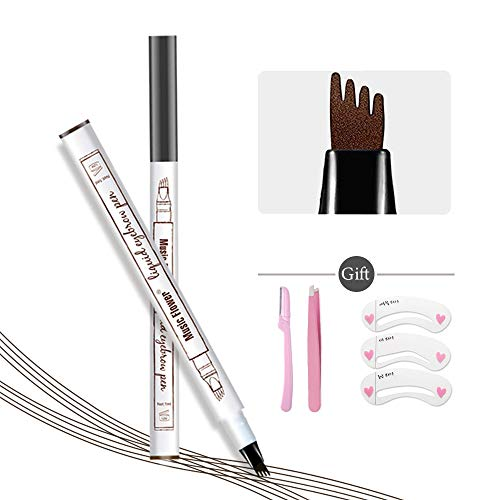 Eyebrow Tattoo Pen,Microblading Eyebrow Pen Microblade Eyebrow Pencil Waterproof & Smudge-Proof With Four Micro-Fork Tips Applicator for Daily Natural Eye Makeup (3# Dark Grey)