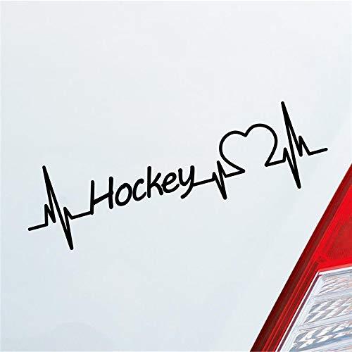 Hellweg Druckerei Auto Aufkleber Hockey Herzschlag Ballsport Team Feld Sport Sticker Liebe Schwarz Glanz