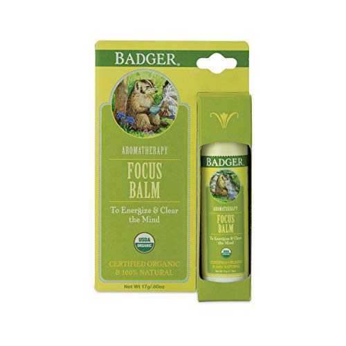 Badger - Focus Balm, Aromatherapy Balm Stick, Certified Organic, Energize & Clear The Mind, Aromatherapy Oil, Lemon & Rosemary Essential Oils, Clarity & Focus Essential Oil Roller, 0.6 oz