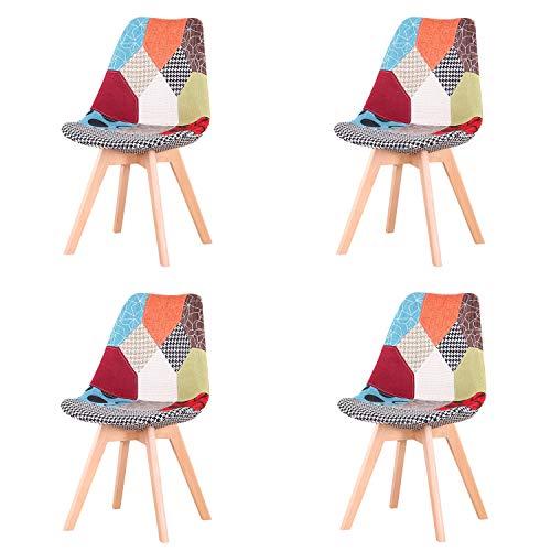 EGOONM Set di 4 sedie da Pranzo scandinave, sedie da Tulipano Imbottite retrò da Cucina/Sedia da Ufficio con Gambe in Legno massello di faggio (Rosso)
