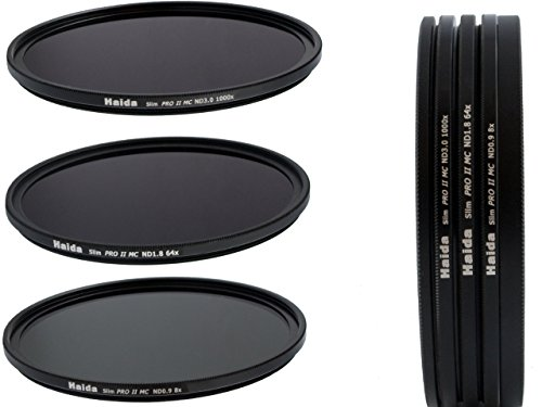 Haida Slim PRO II Digital MC Neutral Graufilter Set bestehend aus ND8x, ND64x, ND1000x Filtern 82mm inkl. Stack Cap Filtercontainer + Pro Lens Cap mit Innengriff