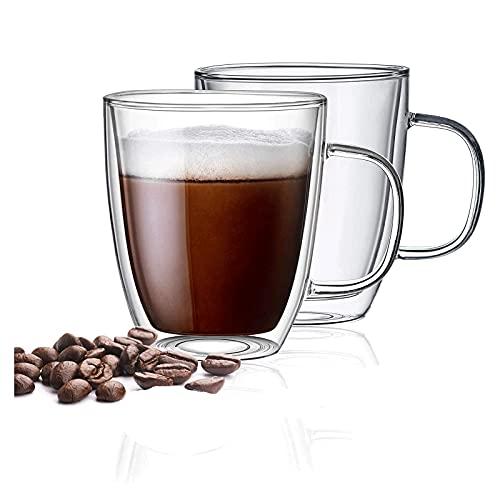 WANGLX Taza de Café de Vidrio Tazas de Café de Vidrio de Doble Pared Taza de Vidrio Aislante Resistente Al Calor con Mango Taza de Café con Leche,475mldoublelayercup