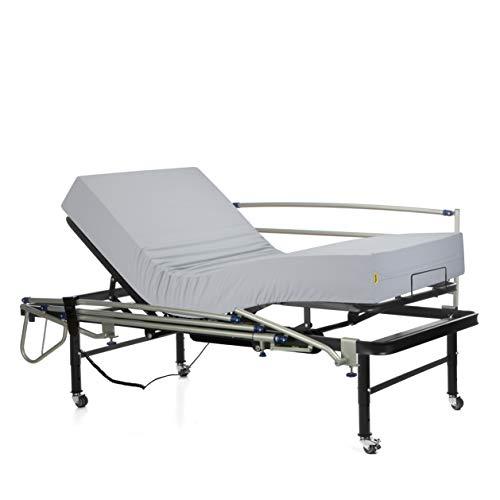 Ferlex - Cama articulada eléctrica geriátrica hospitalaria con Patas Regulables y Ruedas con Frenos   Colchón Sanitario viscoelástico   Barandillas abatibles (90x190)