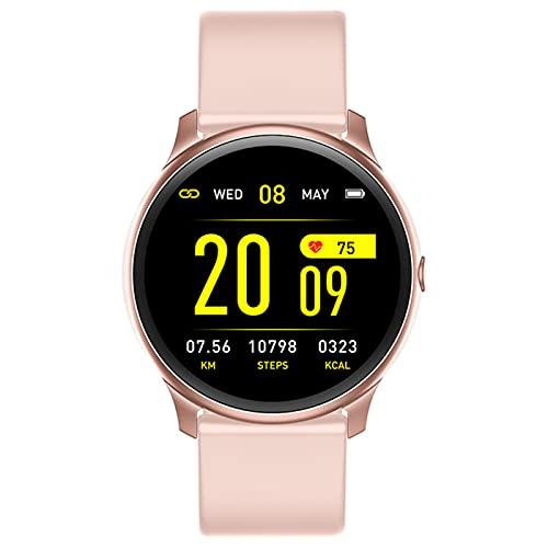 LJMG Smart Watch, KW19 Pulsera Inteligente De Deportes De Mujeres Y Hombres, Presión Arterial, Monitoreo del Sueño De Frecuencia Cardíaca, Recordatorio De Mensajes iOS De Android,A