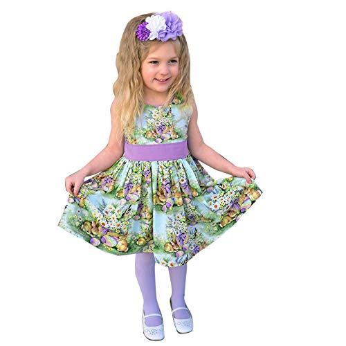 Janly Clearance Sale Vestido y falda para nias de 0 a 4 aos, sin mangas, con dibujos animados de Pascua, para bebs de 2 a 3 aos, para Pascua, Da de San Patricio (multicolor)