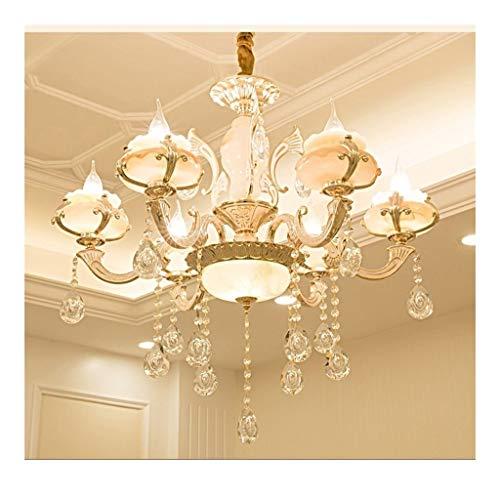 JHEY Araña Araña de Cristal Sala de Estar Aleación de Zinc Mármol 6 Luz Lámpara Colgante Sala de Estar E14