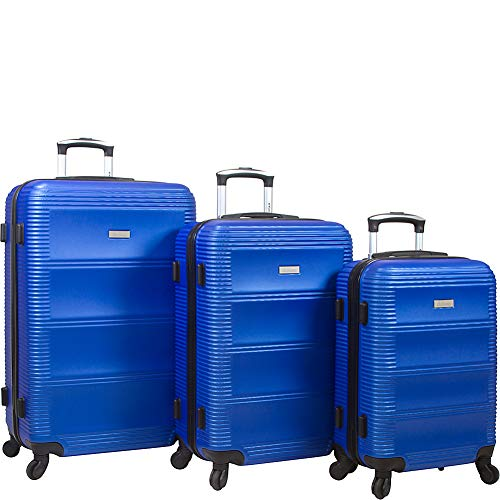 Dejuno Helix 3-piece Hardside Spinner Luggage Set, Blue