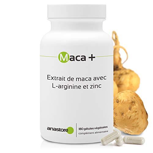 MACA + ARGININA Y ZINC * 461 mg / 180 cápsulas * Extracto de maca titulado al 0.6{f1b6c95ea989230aee32e63d7927a33d4f03060efdf979a735526fce77f75d77} en macaeno y macamida, L-arginina y zinc * Energia, Vitalidad