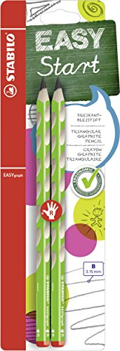 Ergonomischer Dreikant-Bleistift für Rechtshänder - STABILO EASYgraph in grün - 2er Pack - Härtegrad B