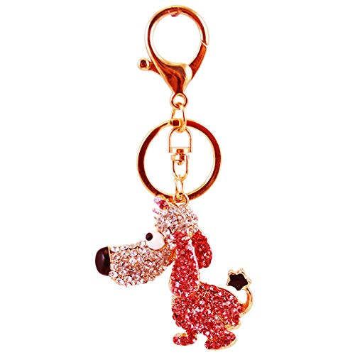 Ifingerring Girl Key Chain, Cute Pink Diamond Cartoon Long Nose Puppy Car Keychain Female Metal Creative Key Ring Pendant, Fashion Accessory Couple Friend Lover Girl Festival Gift