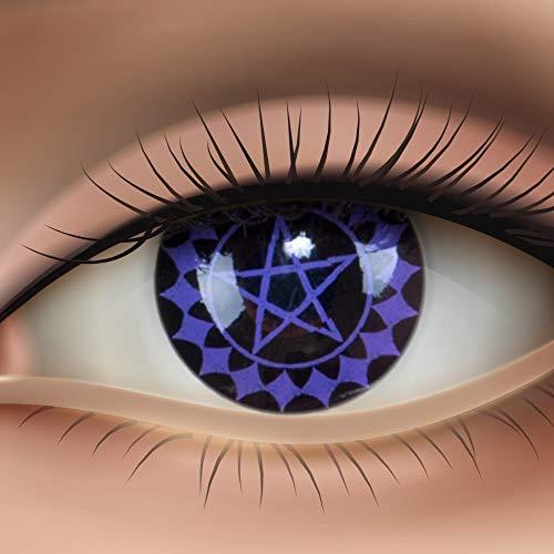 Farbige Kontaktlinsen Funnylens crazy Motivlinsen violet lila Jahres Kontaktlinsen Black Butler mit Linsenbehälter. Perfekt zu Fasching, Halloween und Karneval