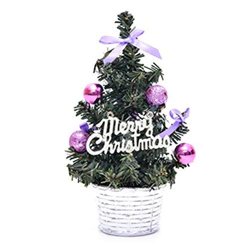 Jiacheng29_ - Mini albero di Natale artificiale per albero di Natale artificiale con pallina glitterata, decorazione per hotel, bar, tavolo e festival (viola)