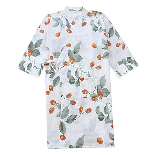XFLOWR Camisón, Ropa de Dormir, Pijamas de Primavera/Verano, Batas Suaves de algodón para Mujer, Albornoz Fino Holgado y cómodo de algodón para el hogar M Whitecherry