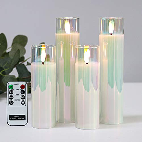 Pearlesent Glass Battery Operated LED Candles, White Slim Flameless Candles with Remote, Warm White Light, Batteries Included - Set of 4