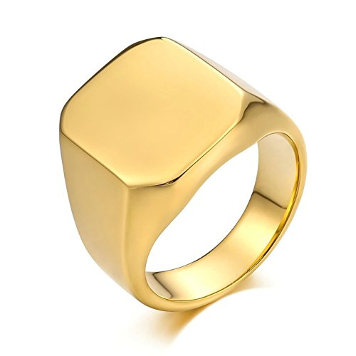 KnSam Anillo de titanio para hombre, rectángulo de acero inoxidable, anillo de sello para hombre, anillo de plata con grabado gratuito, Acero inoxidable,