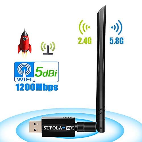 USB Wireless Adapter 1200Mbps, USB Wifi Adapter 5.8GHz/2.4GHz PC Wifi Adapter Dual Band 802.11ac Wireless Desktop Adapter with 5dBi External Antenna, Support Windows 10/8/8.1/7/XP, Mac OS X 10.6-10.14