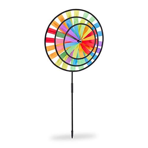 Relaxdays, bunt Windrad, Gartenstecker im Regenbogen Design, Kinder, für Balkon oder Terrasse, HBT: 73,5 x 35,5 x 15 cm, 1 Stück