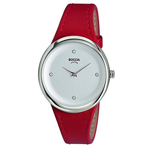 Boccia Damen Analog Quarz Uhr mit Leder Armband 3276-05
