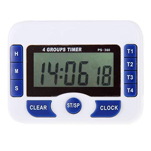 Temporizador CCI-360 PS 4 Grupos de alarma temporizador de cocina reloj de cuenta atrás digital administrador de tiempo