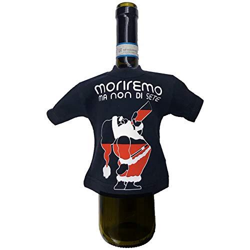 Paquete regalo botella vino divertido Moriremo Ma Non di See Mini camiseta para botella de vino con frases simpáticas Papá Noel