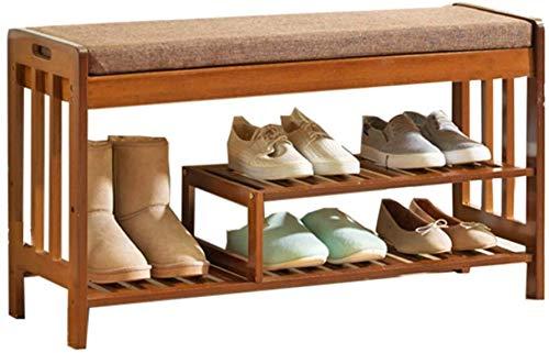 Schoenenrek schoenenrek plank organizer bamboe schoenenrek voetenbank met lade boven bank ingang opbergorganizer voor hal badkamer woonkamer gang bruin (C) Brown(b)