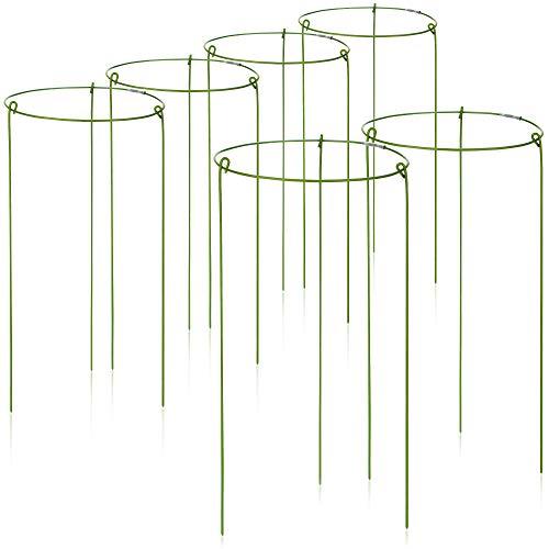 com-four® 6X Blumen- und Staudenhalter 28cm - Strauchstütze rund - Buschstütze für Blumen, Rankengewächse und Stauden - Ø 14 cm