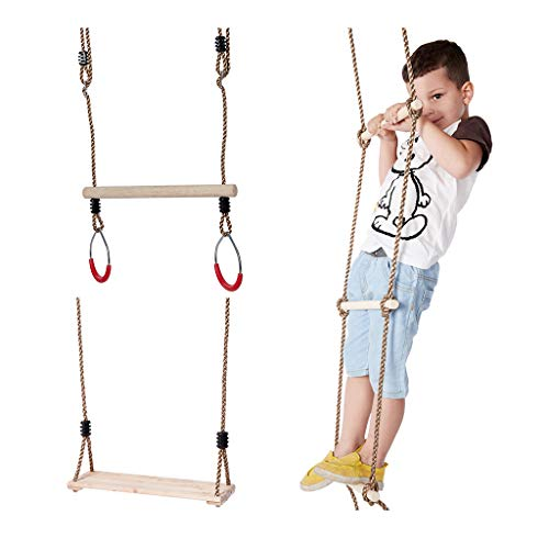 IFOYO Climbing Rope Ladder for Kids, Trapeze Bar with Rings and Hanging Swings Seat Bundle, Gymnastics Swing for Outdoor Swing Sets, Backyard Play Sets