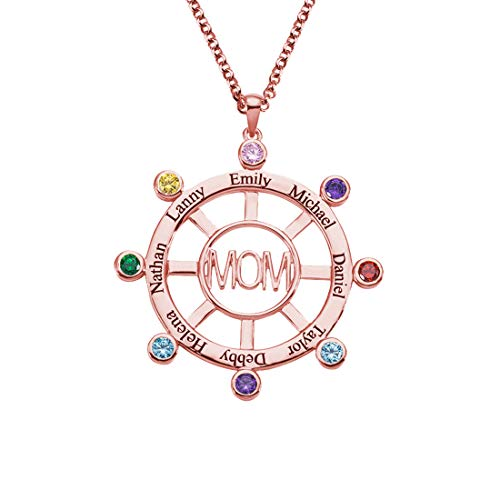 Engraved 1-8 Name Roulette Pendant Necklace Personalized Birthstone Family Chain Unique Birthday Valentine's Day Anniversary Jewelry Ideas(Rose gold-24')