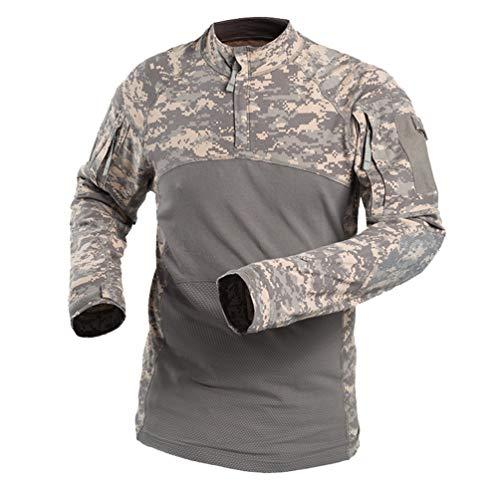 YuanDian Herren Camouflage Militär Tactical T Shirt Langarm Outdoor Elastic Frog Anzug Combat Armee Jagd Bluse Camo Military Tarnmuster Atmungsaktiv Reißverschluss Kragen Top Hemd ACU XL