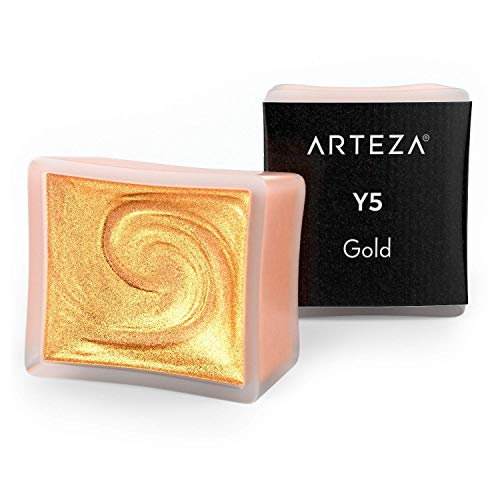 Arteza Aquarellfarben Metallic, A703 Gold, Set mit 2 Aquarell Näpfchen, Perlenfarbe, lebendige und perlmuttfarbene Farbtöne für Illustrationen, Kalligraphie und zum Malen