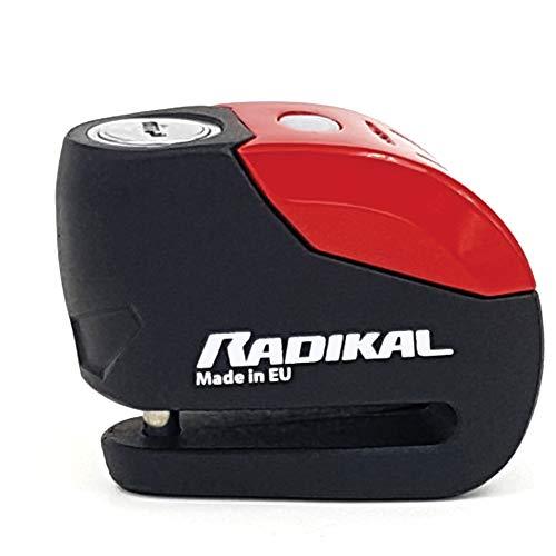 RADIKAL RK9 Bremsscheibenschloss Alarm 120 db, Warnung LED, ø 6 mm, Universal Motorrad Scooter, Rot