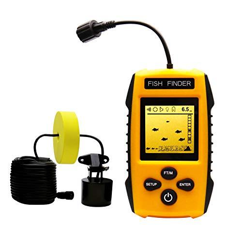 Handheld Fish Finder Portable Fishing Kayak Fishfinder Fish Depth Finder Fishing Gear with Sonar Transducer and LCD Display