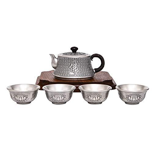 LIUHONGSU Plata de Ley 999 del Juego de té Sutra del corazón Taza de té Hecho a Mano de Kung Fu de la Tetera Conjunto de Hogares Pot Regalo de cumpleaños para (Color : 285g, Size : Gratis)